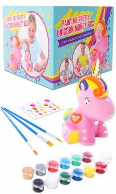 This is an image of a unicorn money box art and craft kit for girls.