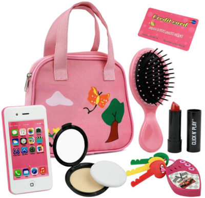 This is an image of kid's pretend play purse with 8 pieces in pink color