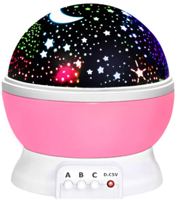 This is an image of kid's moon star projector light in pink color