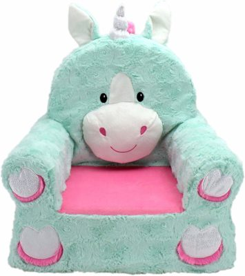 This is an image of a teal unicorn plush chair for baby girls.