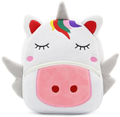 This is an image of kid's backpack with unicorn design in white color