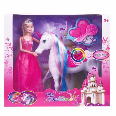 This is an image of a unicorn and princess doll toy for girls.