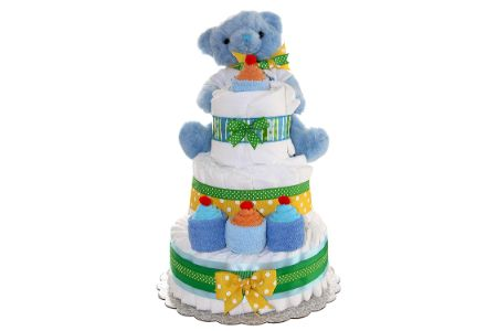This is the image of blue teddy diaper cake