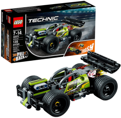 This is an image of kid's stunt car building kit by Lego in black and green colors