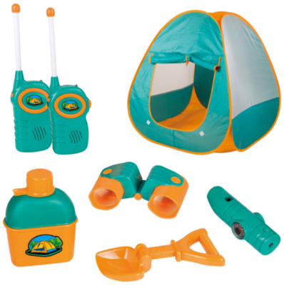 This is an image of kid's Camping set toys in blue and orange colors