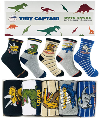 This is an image of kid's Dinosaur socks pack