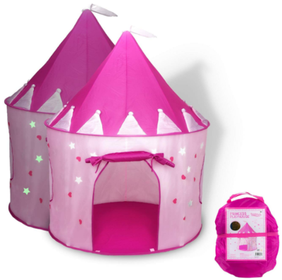 This is an image of kid's castle play tent in pink color