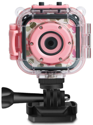 This is an image of girl's digital Action Camera in pink color
