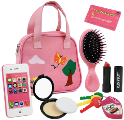 This is an image of girl's pretend purse set in pink color