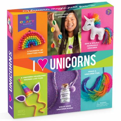 This is an image of a colorful unicorn craft kit for girls.