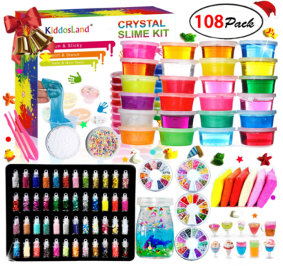This is an image of girl's DIY slime kit in colorful colors