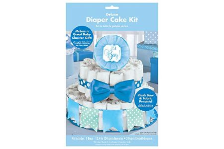 This is the image of deluxe diaper cake for boys