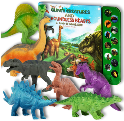 This is an image of kid's dinosaur toys figurines