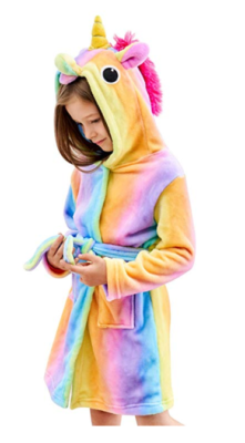 This is an image of a girl wearing a Doctor Unicorn bathrobe.