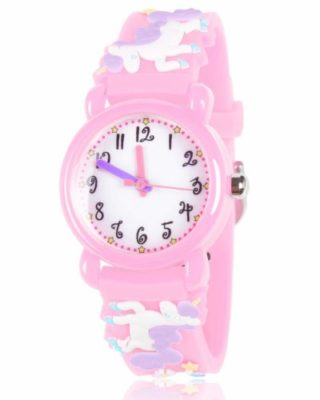 This is an image of a pink unicorn watch by Dodosky .