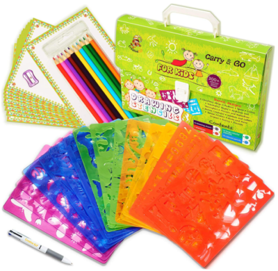 This is an image of kid's drawing stencils kit