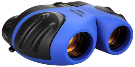 This is an image of binoculars in blue color