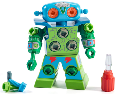 This is an image of kid's educational drill robot in blue and green colors