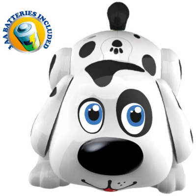 This is an image of kid's ELectronic pet dog in white and black colors