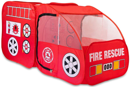 This is an image of toddler's fire truck tent in red color