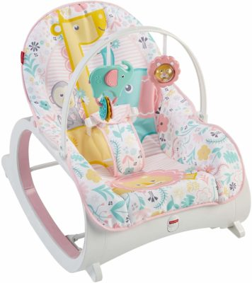 This is an image of a pink with animal prints baby rocker.