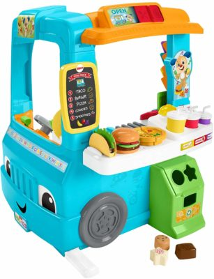 This is an image of a blue interactive food truck by Fisher Price.