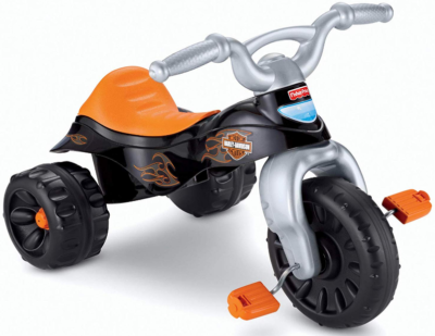 This is an image of kid's Harley davidson tough trike bike in black color