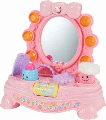 This is an image of a pink musical mirror toy for baby girls by Fisher Price.