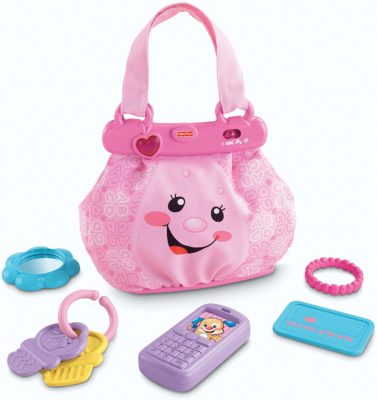 This is an image of a baby size toy purse y Fisher Price.