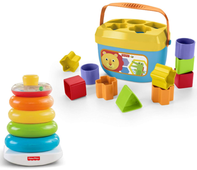This is an image of kid's fisher price block bundel in colorful colors