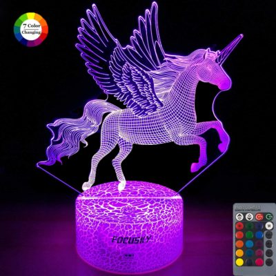 This is an image of a violet unicorn night light for girls.