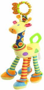 a giraffe looking foreast handbell rattle