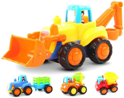 This is an image of toddler's pozered car push toy in colorful colors