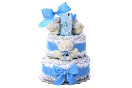 This is the image of gift baby diaper cake for boys
