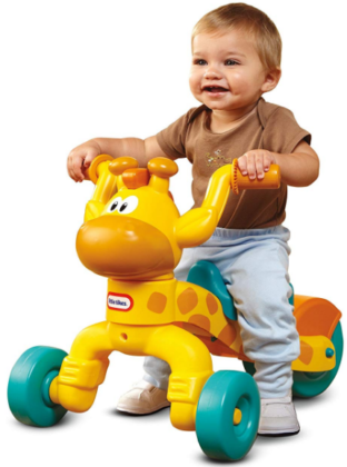 This is an image of toddler's giraffe ride on in yellow and blue colors