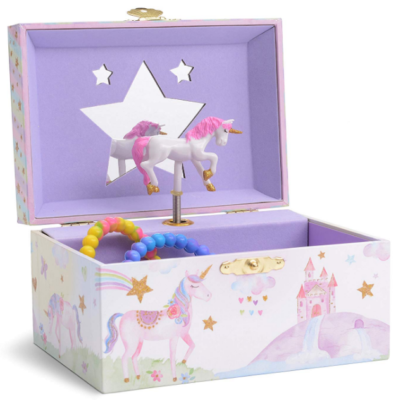This is an image of girl's jewelry storafe box in purple color