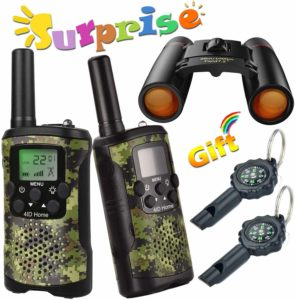 walkie talkies, binoculars and compasses