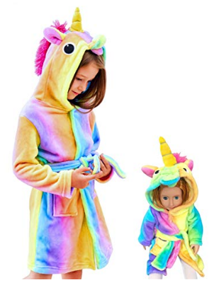 This is an image of kid's hooded bathrobe in colorful colors