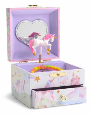 This is an image of a unicorn musical jewelry box for girls.