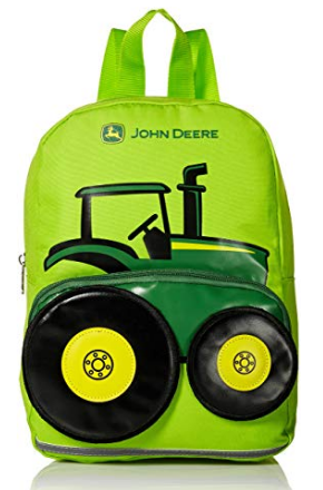 This is an image of kid's backpack with john deere graphic in green color