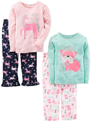 This is an image of girl's 4-Piece Pajama Set