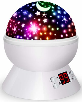 This is an image of a colorful star projector night light by Jozo.