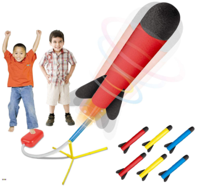 This is an image of kid's rocket jump set in colorful colors