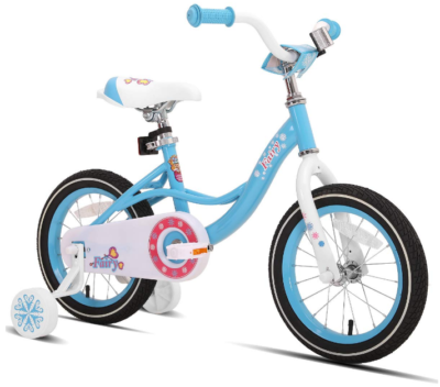 This is an image of kid's Bike with training wheels in blue color