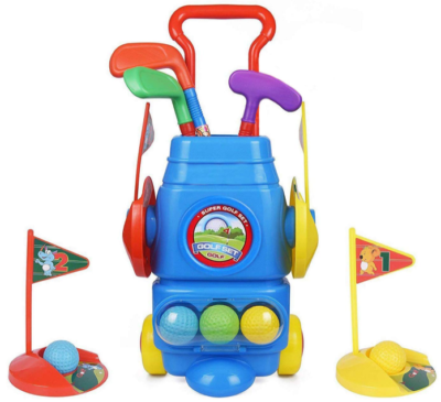 This is an image of kid's golf toy set in colorful colors