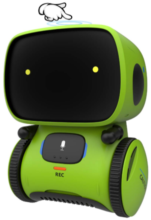 This is an image of kid's robot toy in black and green colors