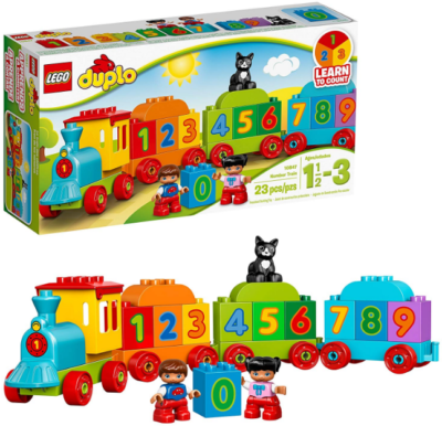 This is an image of toddler's LEGO duplo Train building kit in colorful colors
