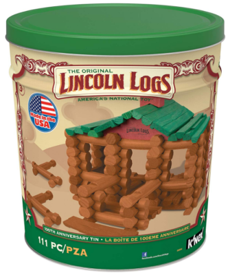 This is an image of kid's Lincoln logs construction kit
