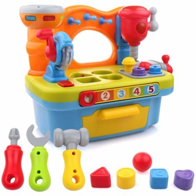 This is an image of a colorful musical workbench toddler toy by Liberty Imports.