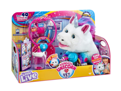 This is an image of an interactive unicorn vet set for little girls.